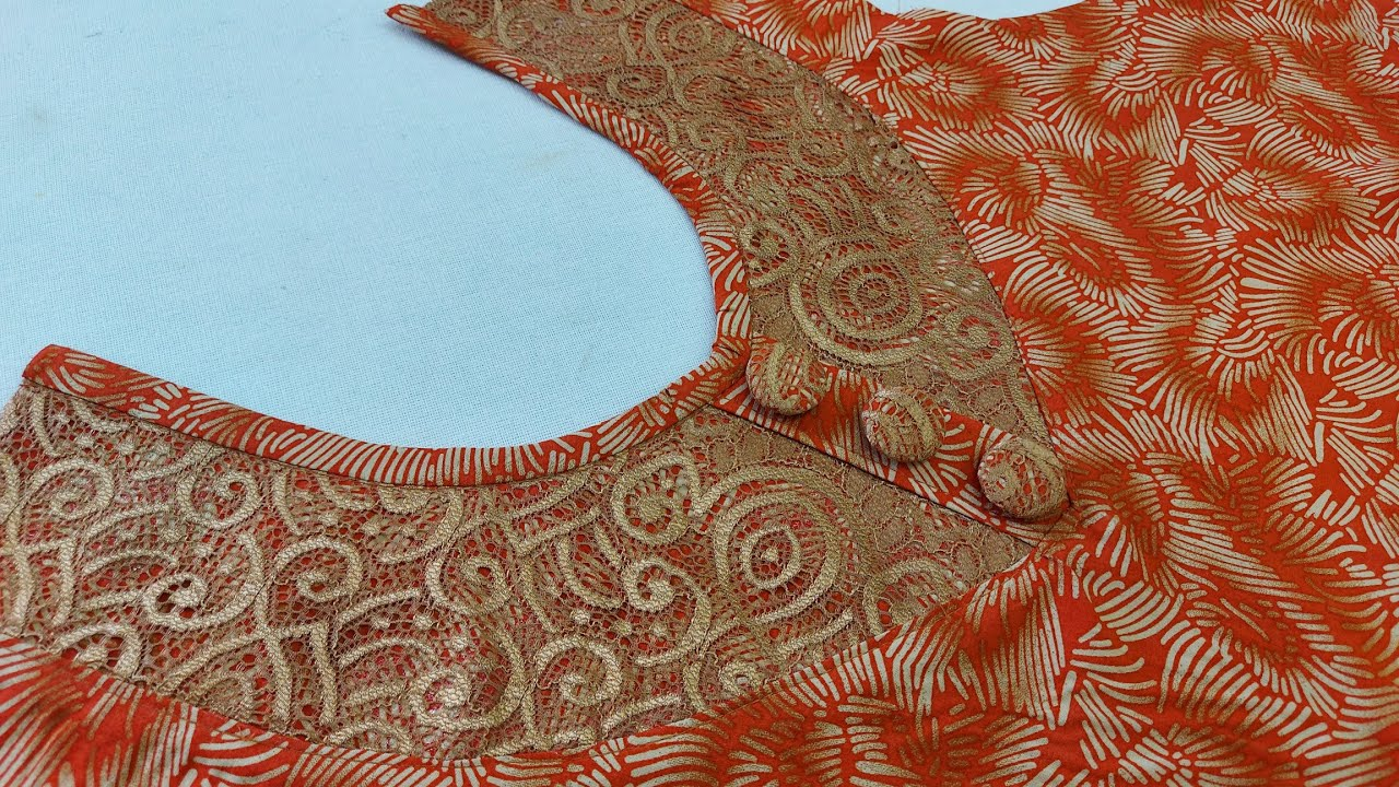 صدر دشداشة بدانتيل رائعة - Very beautiful  blouse design cutting and stitching very easy method