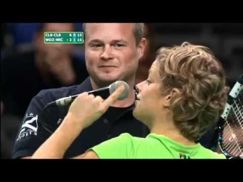 Guys run on court to give Yanina Wickmayer a kiss