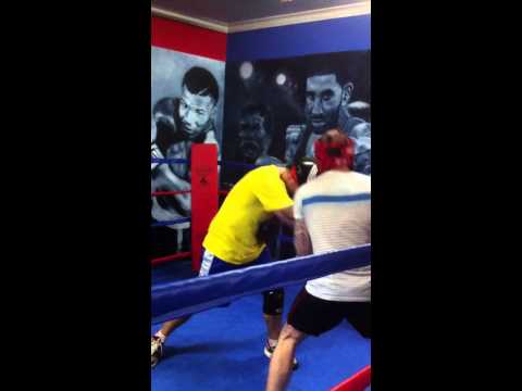 Josh Newman sparring Johnny Brown