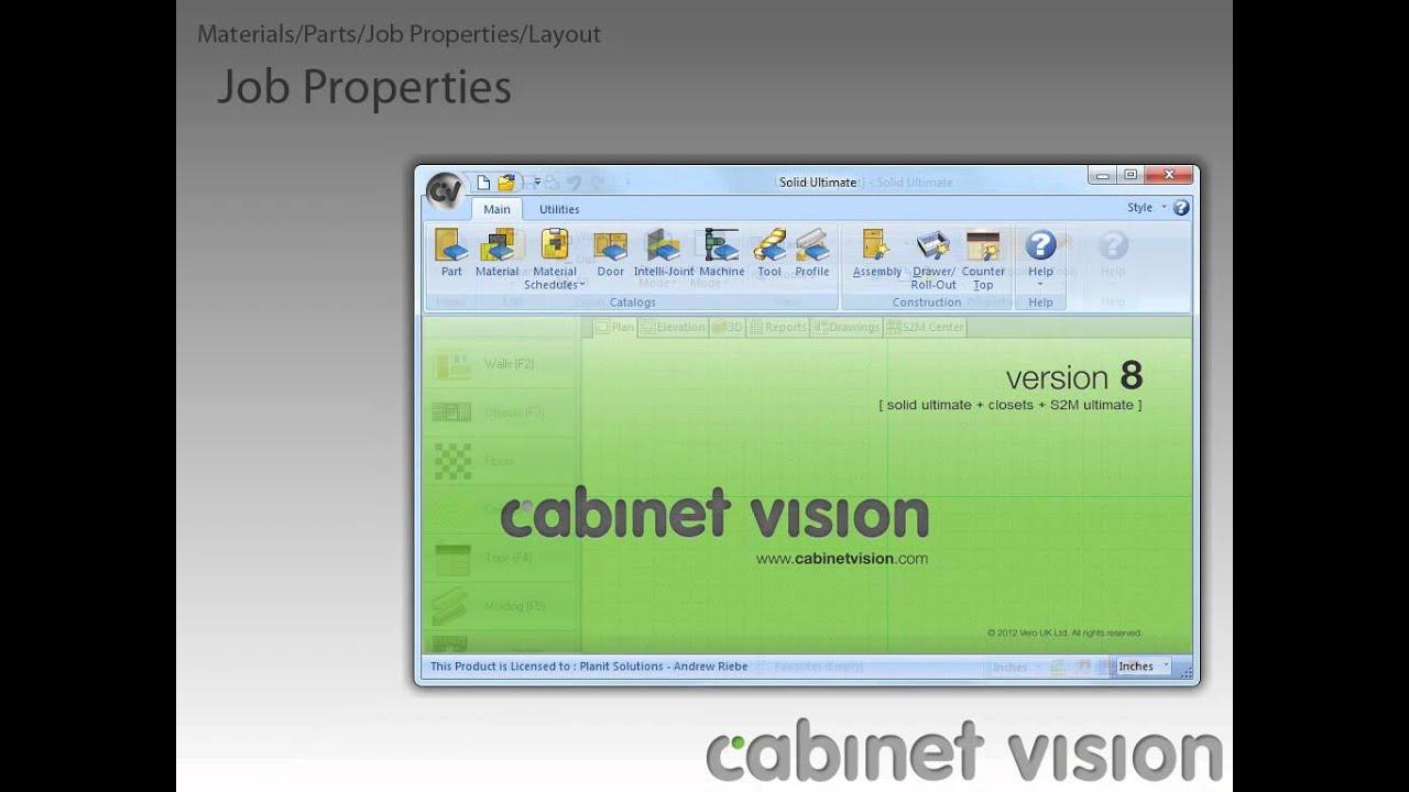 Cabinet Vision Version 8 Job Properties, Layout, Materials, and Parts