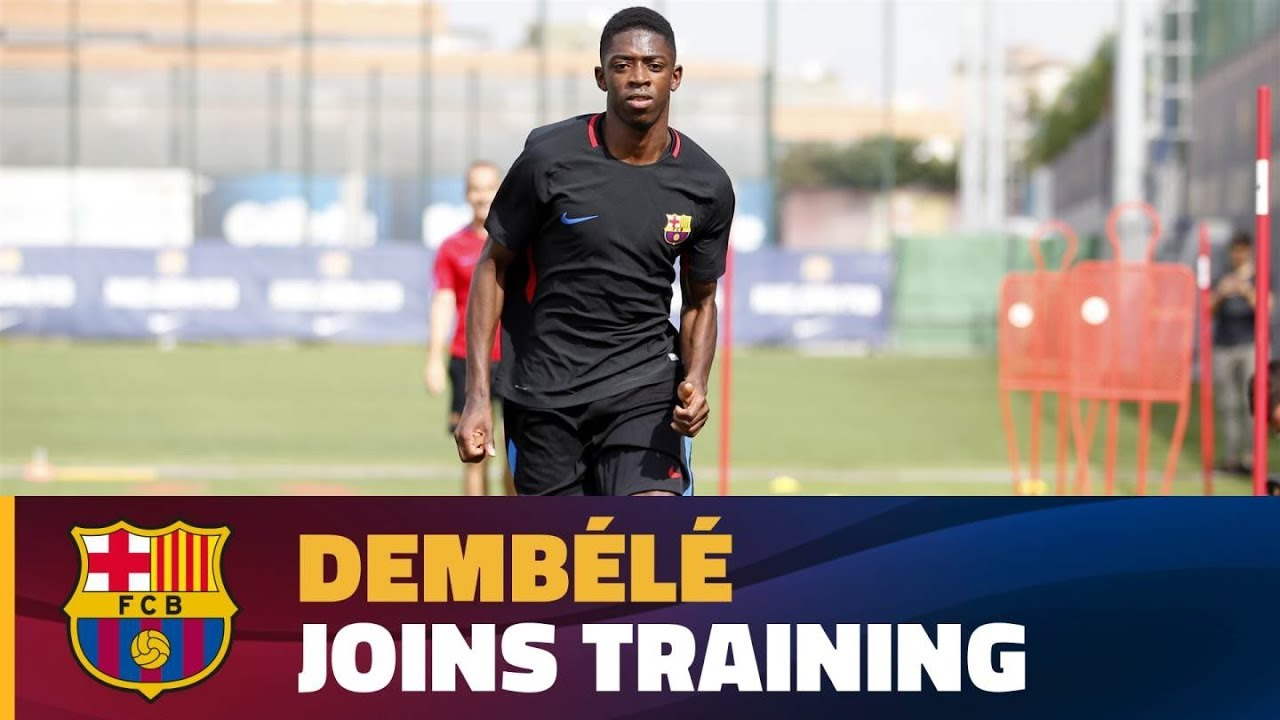 05f3412a148 Dembélé completes first training session at FC Barcelona - YouTube