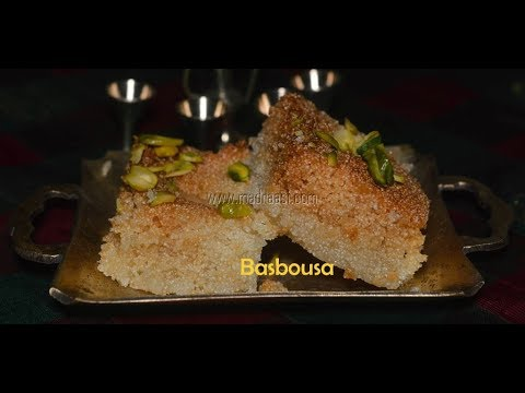 Basbousa Recipe / Rava Cake Recipe / How To Make Eggless Rava Cake - Ramadan Recipe | Madraasi