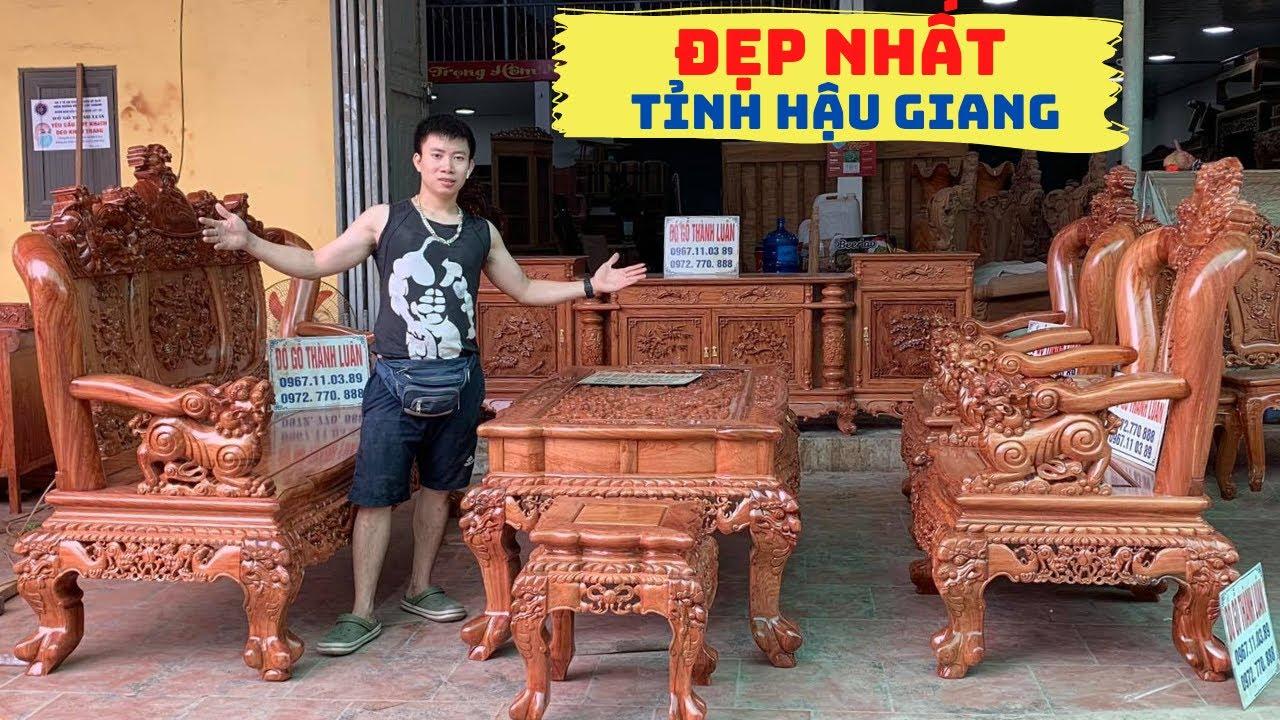 Bàn Ghế Phòng Khách Nghê Bảo Đỉnh C12,Kệ Tivi Gỗ Hương. A Đôn Hậu Giang