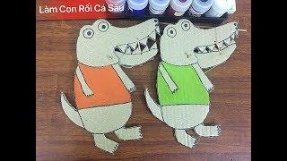 Hướng Dẫn Bé Làm Con Rối Đồ Chơi Cá Sấu | Guide baby to make puppets crocodile toys
