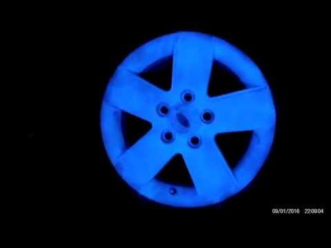Ford Fusion Rims PlastiDiped w/ Glow in the dark paint.  GlowNtheDark Rims from 15 ft away #2