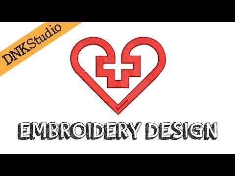 First Aid Heart Embroidery Design