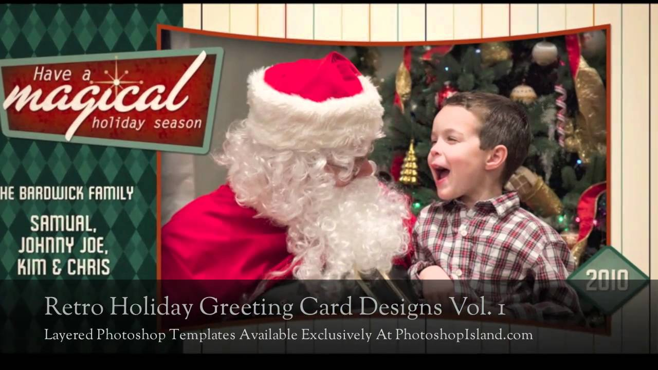 Retro Holiday Card Layered Photoshop Templates Preview Youtube