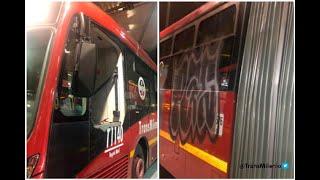 ¡Vándalos! Hinchas de Millonarios rayaron un bus nuevo de TM y rompieron vidrios a otro