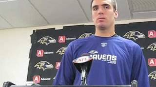 Nestor asks a smiling Joe Flacco about throwing winning TD vs. Steelers