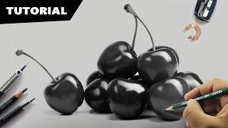 Draw Realistic Cherries | Easy 4-Step Method | Still-life Drawing.