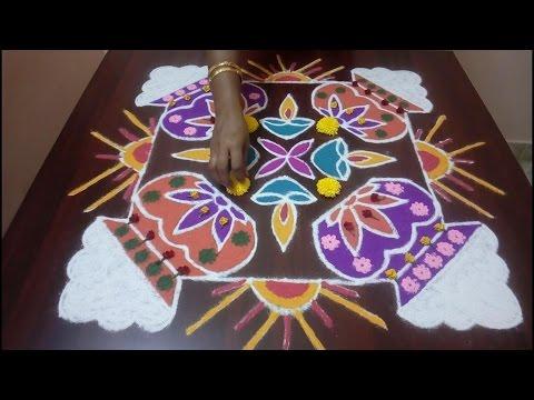 Simple and Beautiful Pongal Kolam    Lovely Sankranti Muggulu with 13x13 dots