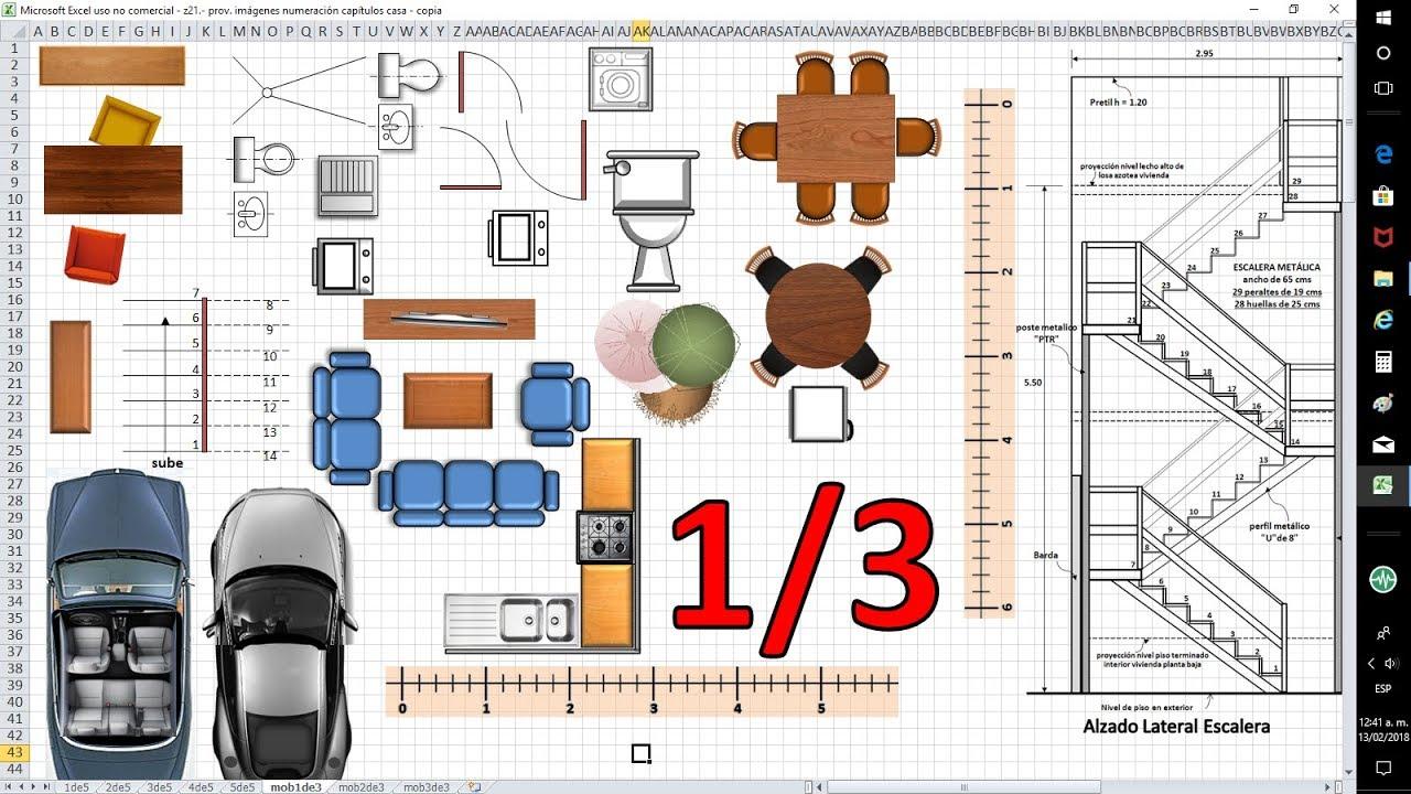 1 3 mobiliario planos de casas con excel anteproyecto for Medidas de muebles para planos arquitectonicos