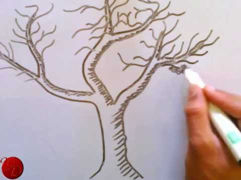 How To Draw A Beautiful Tree With Hand Youtube