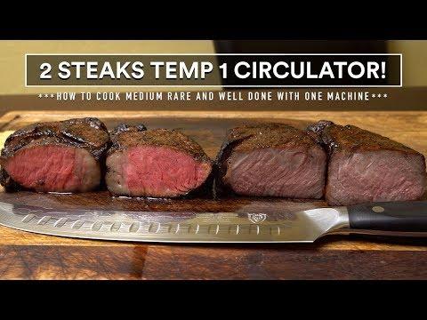 2 STEAKS Temp 1 CIRCULATOR - Well Done And Medium Rare In 1 Sous Vide Machine