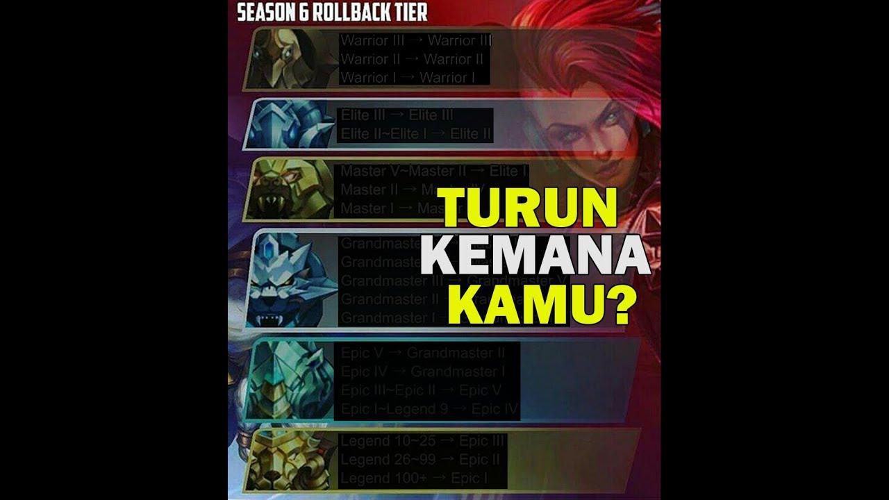 Urutan Turun Tier Season Rollback Mobile Legends Youtube