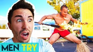 Men Try Fire Knife Dance VS The Pro - First Time Dancing With Fire