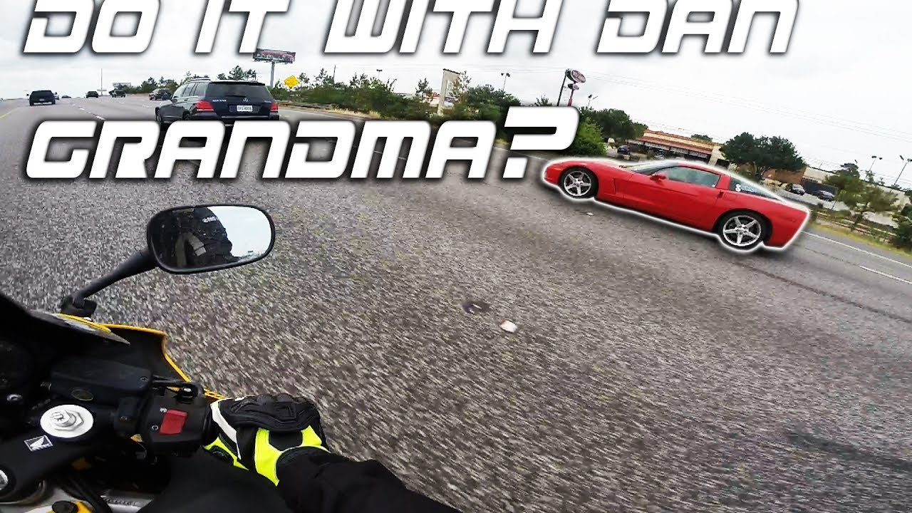 Mustang cobra vs. Cbr600 / Grandma driving a corvette ...