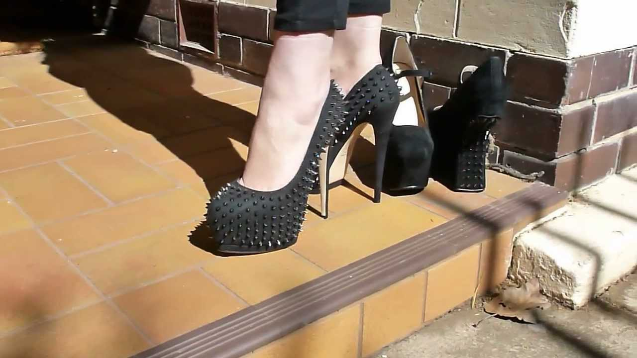 7 inch high Studded Stiletto platform pumps. - YouTube