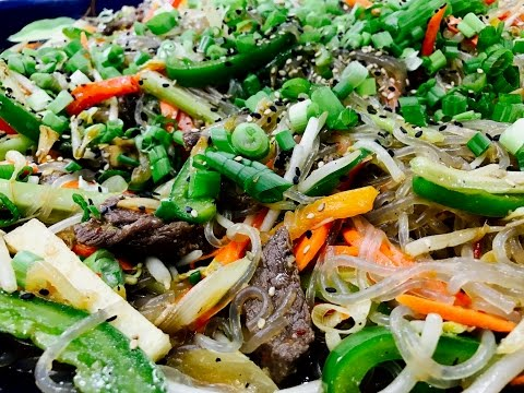 Glass Noodle Stir Fry with Loads of Veggies and Beef In English