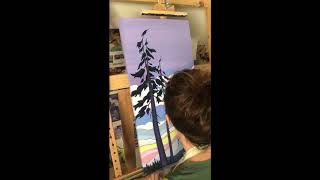 Time-lapse painting of snowy trees at sunset