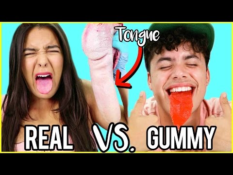 Thumbnail: Gummy Food VS. Real Food! EATING COW TONGUE & A HEART! Natalies Outlet