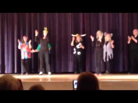 8th grade teachers at Unicoi county middle school doing what does the fox say dance