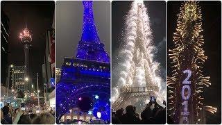 New year celebration • Burj khalifa • Eiffel Tower • London eye