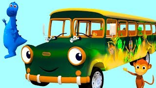 WHEELS ON THE BUS GO ROUND AND ROUND ALL THRU THE JUNGLE NURSERY RHYME WITH JUNGLE BUS
