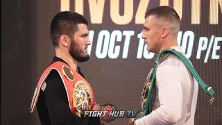 ARTUR BETERBIEV GIVES OLEKSANDR GVOZDYK AN ICE COLD STARE DURING PRESS CONFERENCE FACE OFF