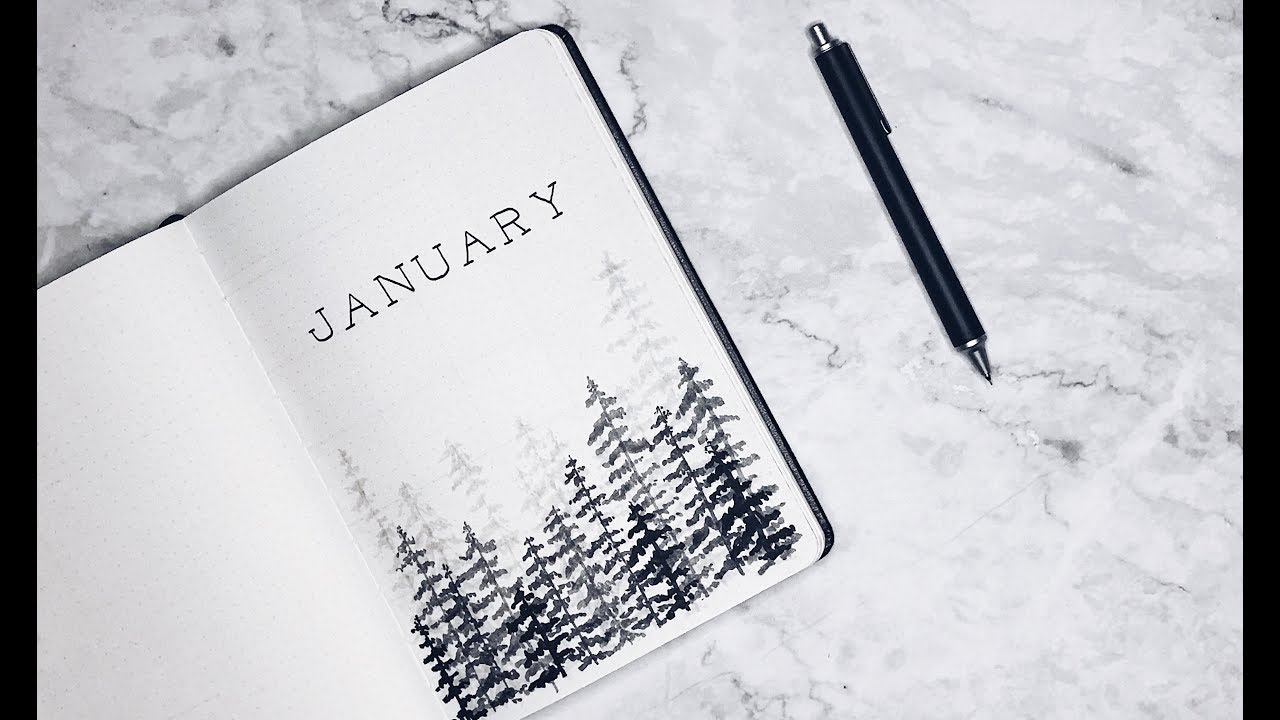 Minimalist Bullet Journal January 2018 Winter Theme Youtube