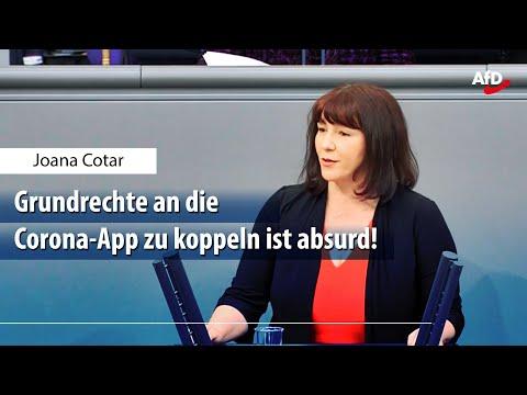 """Joana Cotar zum AfD-Antrag """"Keine Datensammlung durch Corona-App"""""""