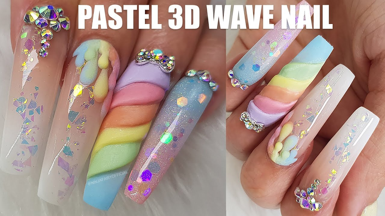 Long Acrylic Nails | 3D Layered Wave Nail | Baby Boomer | NEWEST ...