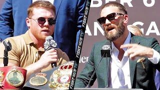 HIGHLIGHTS   CANELO VS CALEB PLANT CHAOTIC PRESS CONFERENCE & FACE OFF VIDEO
