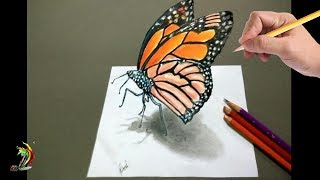 How to Draw 3D Butterfly - Cool 3d Trick Art on Paper - Step by step tutorial for kids