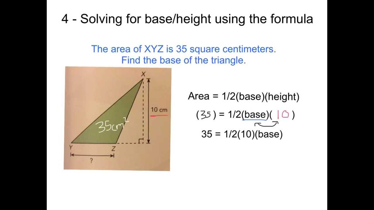 Height Of Triangles When Given The Area