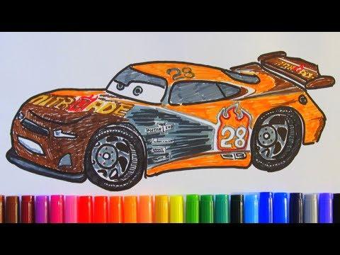 How to draw and color TIM TREADLESS NITROADE #28 Disney Pixar CARS 3 2017