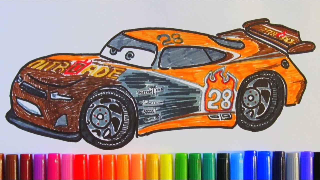 How To Draw And Color Tim Treadless Nitroade 28 Disney Pixar Cars 3