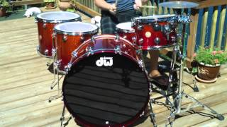 justin nelson dw collectors drums tangerine to blood red sparkle 14 16 18 26