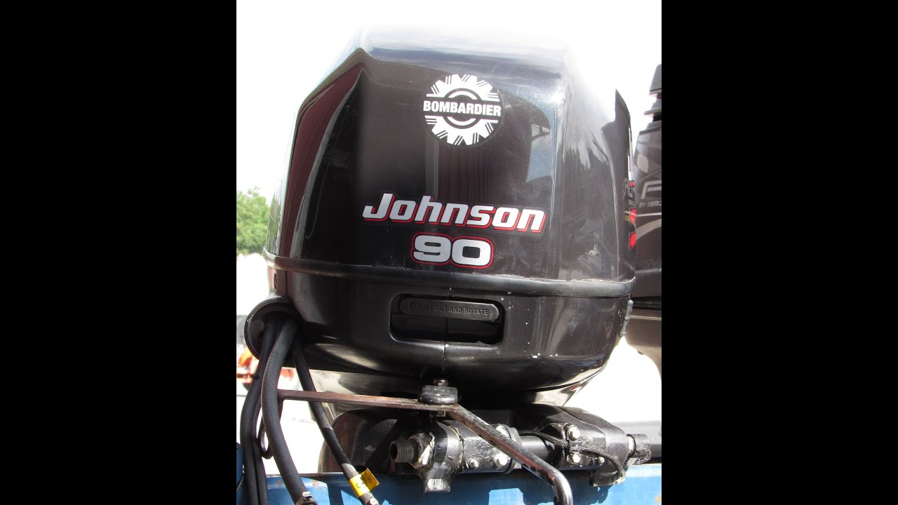 6m4d39 used 2002 bombardier johnson j90plsnf 90hp 2 stroke outboard rh youtube com 1999 Johnson 90 HP 2004 90 HP Johnson Outboard