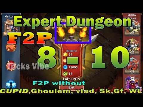 Castle Clash - Expert Dungeon 8-10 Without Cupid,mino,vlad,santa,sm,dd(f2p Heroes Only) [3 FLAMED]