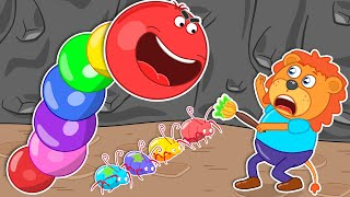 Lion Family 🐛 Journey to the Center of the Earth #57. Ride Rainbow Worm Slither   Cartoon for Kids