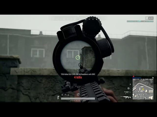 10 kills with blind grenade chicken dinner.