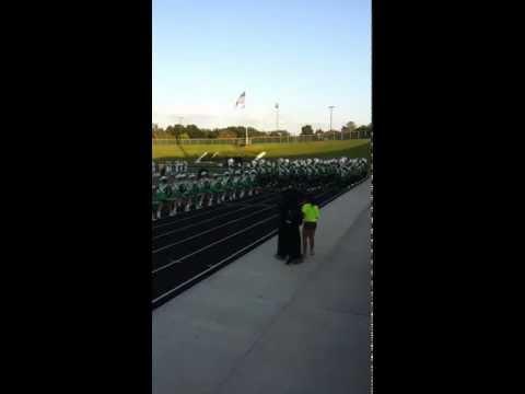 Longview High School Band marching into the stadium. Lobos vs North Little Rock