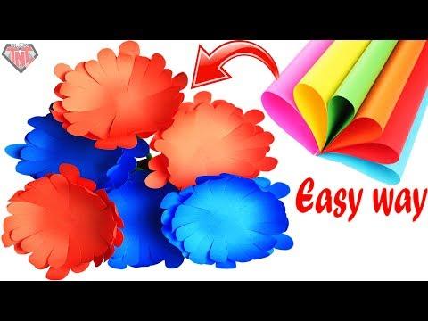 How To Make Paper Chrysanthemums Flower Easiest Way    DIY Color Paper Mums For Flower Vase