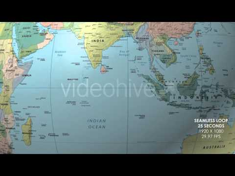 Rotating Globe World Political Map Equator Focus - YouTube
