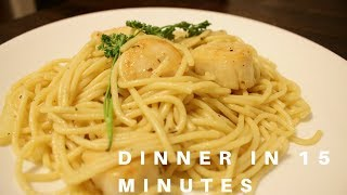 GARLIC BUTTER SCALLOPS WITH PASTA RECIPE