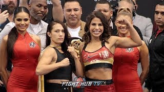 SENIESA ESTRADA AND MARLEN ESPARZA HAVE HEATED FACE OFF AT THE CANELO VS SERGEY KOVALEV WEIGH IN!