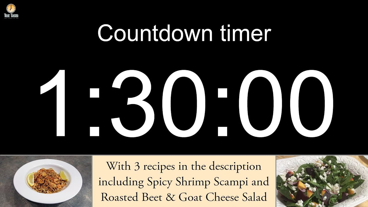 1 hour 30 minute Countdown timer with alarm (including 3 recipes)