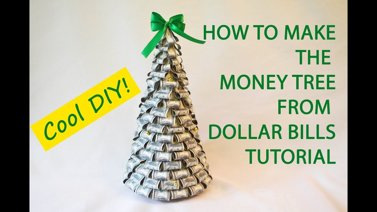 Money Tree Dollars Bills Craft Tutorial DIY Gift Decoration - YouTube