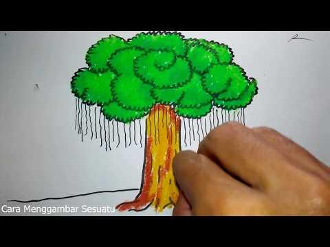 Cara Menggambar Pohon Beringin Untuk Anak Tk Dan Sd Youtube